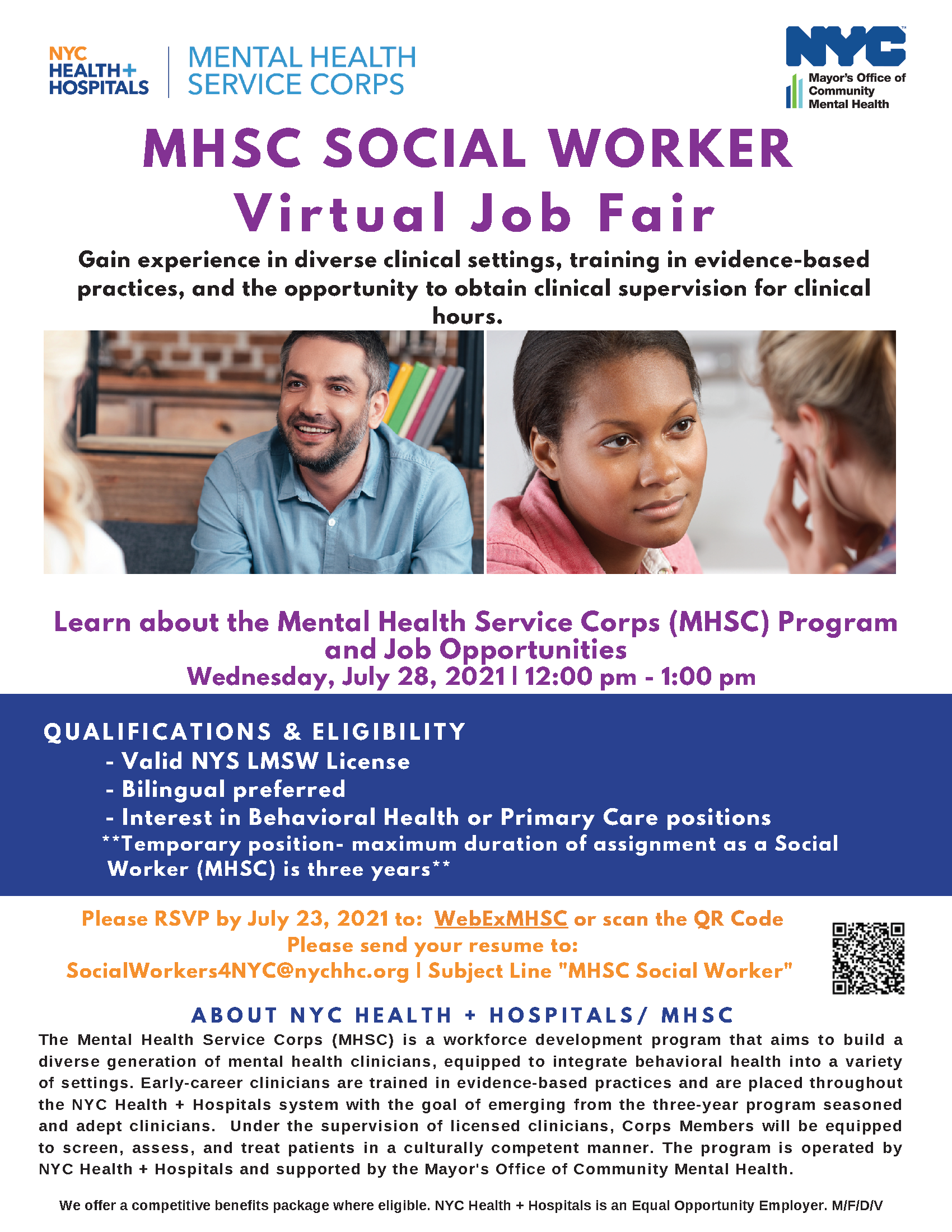 Job Fair flyer titled MHSC Social Worker Virtual Job Fair with description about benefits of program, qualifications and eligibility, and steps for registering for their fair