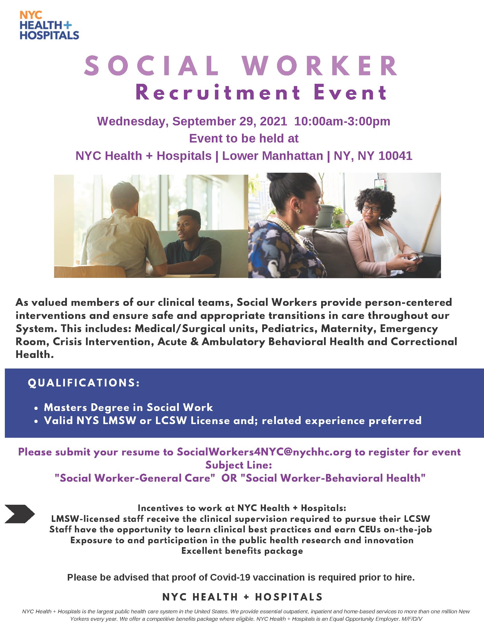 Flyer for Social Worker Recruitment Event on September 29