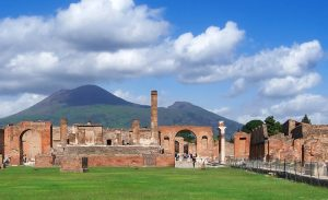 View of the volcano from Pompeii