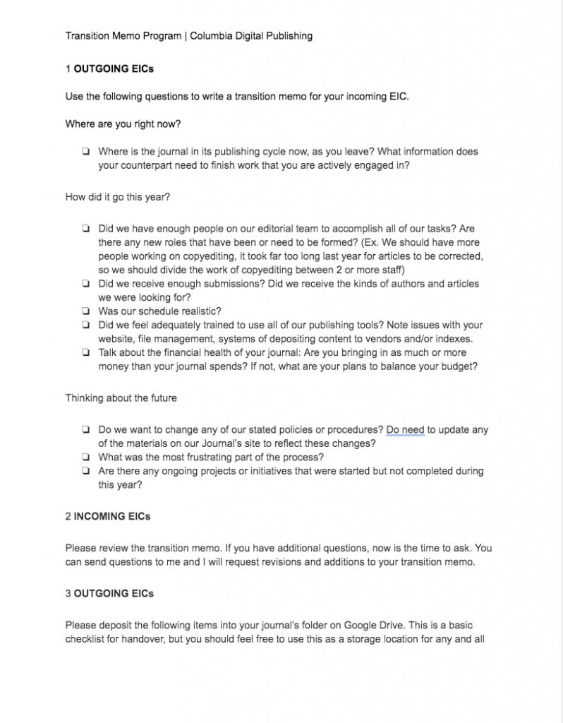 Thumbnail image of transition memo program document