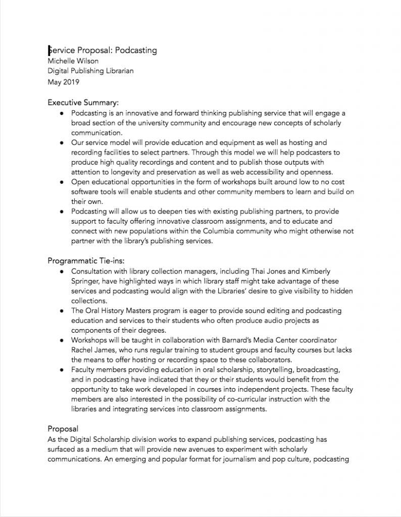 Image of Podcasting Services Proposal Document