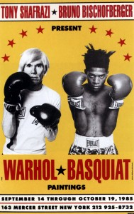 Exhibition Andy Warhol and Jean Michel Basquiat in New York poster 19octobre 1985 boxing gloves pop art graphics