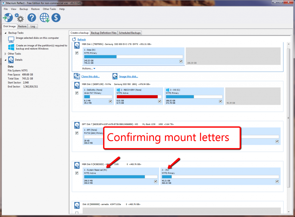 I am once again confirming the mount letters to make sure I'm copying the correct drive.
