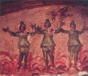 Three Hebrews in a Furnace, catacomb of priscilla, mid-late 3rd century