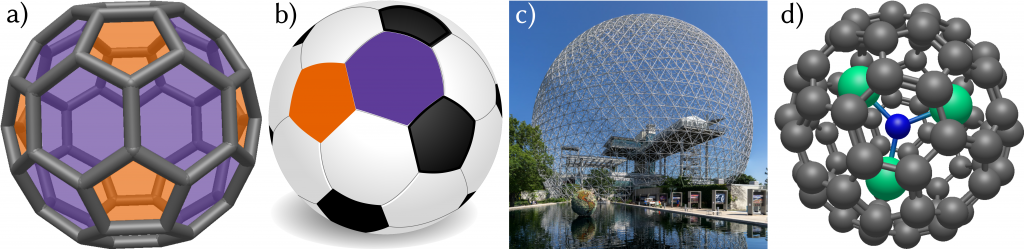 3D structure of fullerenes in comparison with a soccer ball and a geodesic dome