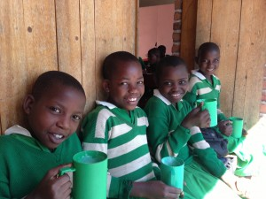 Students at breakfast at Kutamba School