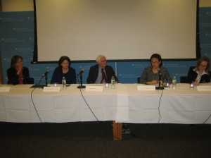 From left, Yasmine Ergas, Ambassador Rosemary DiCarlo, Ambassador John Hirsch, Ambassador Karen Tan, and Ambassador Greta Gunnarsdotir engage in a panel discussion with Columbia students and faculty.