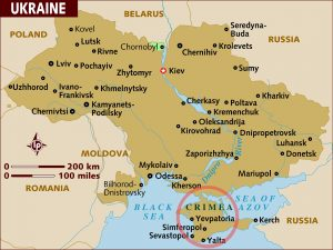 Map of Ukraine from NBC News