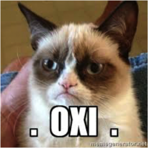 Grumpy Cat votes 'no' (in Greek).