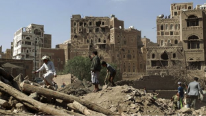Aftermath of a coalition airstrike on a home in Sana'a, Yemen. This airstrike killed five people and destroyed three three-story homes in the Old City which is a UNESCO World Heritage Site.