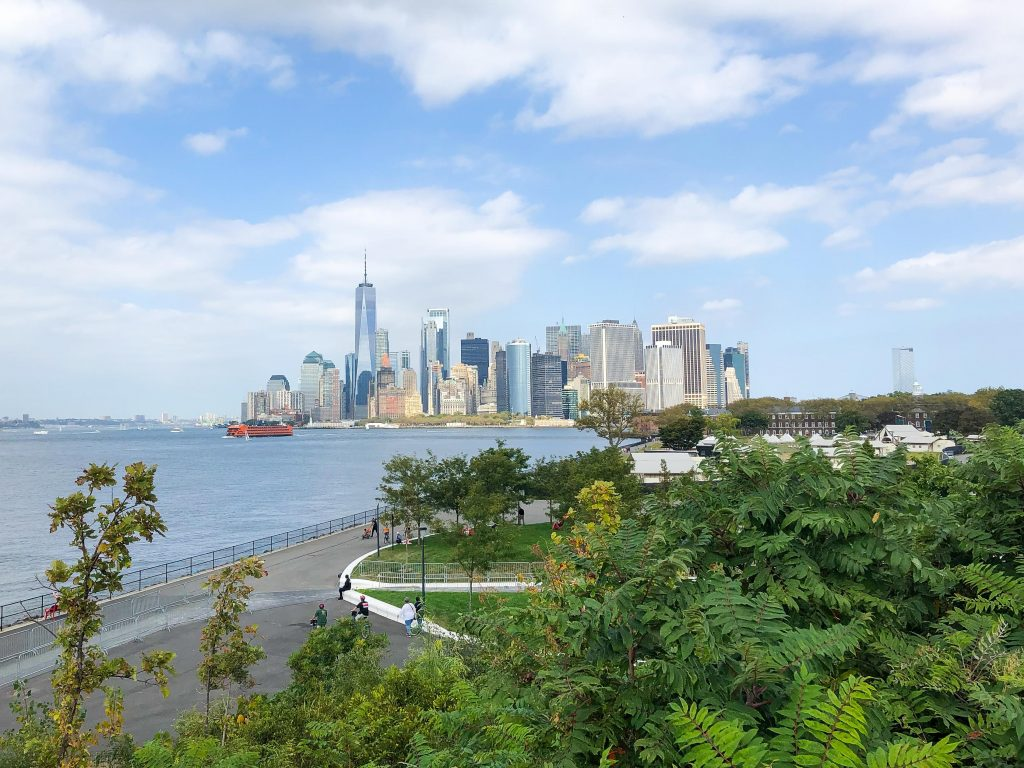 view of NYC skyline from Governors Island